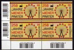 2016 Austria -250 Yaears Of Wien Prater Public Park  -block Of 4 Corner - MNH** MiNr. 3264 (rg) - 1945-.... 2nd Republic