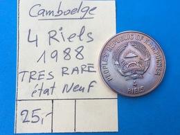 CAMBODGE : 4 RIELS 1988 - TRES RARE - ETAT NEUF - Camboya