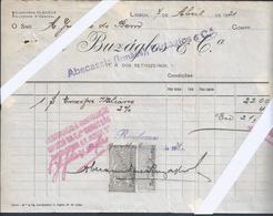 Factura A Buzaglos & Cª/ Abecassis(Irmãos) Emitida Em1921'Junção Do Bem' Com Selos Fiscais Perfurados (A.I.) 27 Furos.2s - Portugal