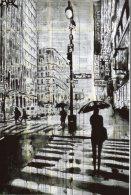 5178 - Pluie Sur Manhattan, Passants Avec Leurs Parapluies. Art, Romantisme. - Silhouettes