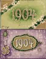 Année Date Millésime 1904 - X 2, Gaufrée Embossed - New Year