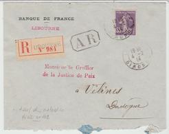 Yv 142 Seul / LSC Rec De Libourne De 1914 Pour Vélines TB - Postmark Collection (Covers)
