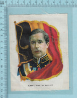 Albert King Of Belgium Nd Flag, Prince Albert De Belgique Et Drapeau -  Cartes Tissu Prime Cigarette Silk Card I.T.C - Non Classificati