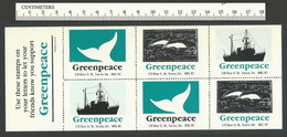 B52-12 CANADA Greenpeace Sheet 2 Toronto 1988 MNH Boat Dolphins Whale - Local, Strike, Seals & Cinderellas