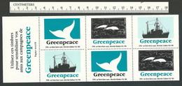 B52-13 CANADA Greenpeace Sheet 9 Montreal 1991 MNH Boat Dolphins Whale - Werbemarken (Vignetten)