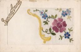 Carte Brodée Et Bonne Année Circulée Postée Au Luxembourg - Cartes Postales