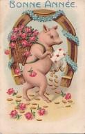 Carte N° 32 En Relief Bonne Année Animal Cochon - Nouvel An