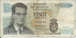 Belgique Koninkrijk  Billet De 20 Francs - 1964 - [ 6] Tesoreria