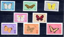 7.9./9.11.1966; Schmetterlinge - Papillons, Mi-Nr. 868 - 875, Neu **, Los Nr. 50012 - Dominikanische Rep.