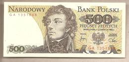 Polonia - Banconota Non Circolata Da 500 Zloty P-145d - 1982 - Polonia