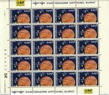Luxembourg Feuille De 20 Timbres à 0,05 Euro Pièces De Monnaie Euro 2001 - Full Sheets
