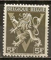 Belgique Belgium 1944 Lion Rampant 5fr M * - Belgium