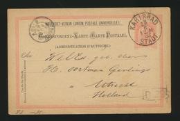 CORRESPONDENZ-KARTE  ÖSTERREICH EMPIRE KARLSBAD 19.8.1893 Nach UTRECHT - Briefe U. Dokumente