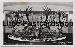 Foto AK Internationale Jagdausstellung Berlin 1937 Halle Hermann Göring Mit Raufbold Geweihe Jagd Trophäen - Hommes Politiques & Militaires