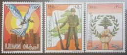 E1124Grp - Lebanon 1984 SG 1296-1298 Complete Set 3v. MNH - Lebanese Army, Peace, Dove, Flag - Lebanon