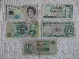 5 Billets 3x1 Pound Scotland 1981 / 1983 / 1993 5 Pounds England 2002 & 1 Pound Clydesdale 1982 - Schotland