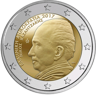 """GRECIA 2€ BIMETÁLICA  2.017  2017  """"60 Años Del Fallecimiento De Nikos Kazantzakis""""  SC/UNC  T-DL-12,221 - Grecia"""