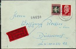 DDR Michel 848 + 612 Auf Eilsendung Exprès Brief Magdeburg Nach Düsseldorf, Rückseitig 2 Ankunftsstempel, Siehe 2 Scans - DDR