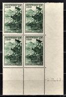 FRANCE 1941 - BLOC DE 4 TP / Y.T. N° 474 - COIN DE FEUILLE / DATE / NEUFS** - 1940-1949