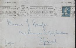 Flamme Dreyfuss 1992 N° Paris Gare PLM  11 AVR 24 12H45 Visitez La Foire De Paris 10 Au 25 Mai KRAG Foire Epinal Daguin - Postmark Collection (Covers)