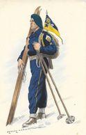 Uniforme De Chasseur Alpin Avec Ses Skis - Illustration Edmond Lajoux - Uniformi