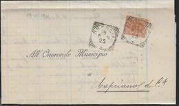 STORIA POSTALE REGNO - ANNULLO TONDO RIQUADRATO BRESCIA 19.05.1901 SU PIEGO PER CAPRIANO DEL COLLE - 1878-00 Umberto I