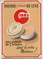 PUBLICITE  CARTON P.L.V.  -   GIBBS  -  POUDRE DE LUXE - UNE  GAMME DE 7 TEINTES - Pharmacie - Plaques En Carton