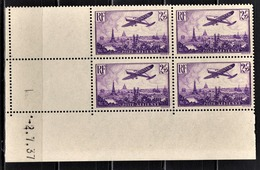 FRANCE 1934 / 1936 - BLOC DE 4 PA / Y.T. N° 10  - COIN DE FEUILLE / DATE / NEUFS** - Dated Corners