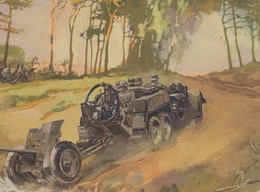 Künstlerkarte Wehrmacht WK II Sign. Mundorff, Viktor Geschütz - Weltkrieg 1939-45