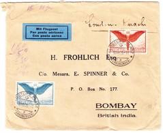 1929 Flugbrief Aus Klosters Nach Bombay, Bedarfsspuren - Poste Aérienne