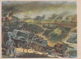 Künstlerkarte Wehrmacht WK II Sign. Mundorff, Viktor Artillerie Mot. Im Kampf - War 1939-45