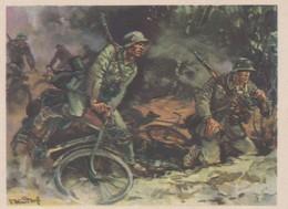 Künstlerkarte Wehrmacht WK II Sign. Mundorff, Viktor Radfahr-Schwadron - Guerre 1939-45