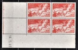 FRANCE 1936 / 1947 - BLOC DE 4 PA / Y.T. N° 19  - COIN DE FEUILLE / DATE / NEUFS** - Coins Datés