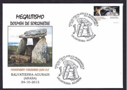 21.- SPAIN ESPAGNE 2015. SPECIAL POSTMARK. ARCHEOLOGY. MAGALITHIC BUILDING DOMEN OF AGURAIN. 2500 B.C - Arqueología