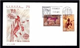 22.- SPAIN ESPAGNE 1975. FDC EUROPA. ART ROCK. TITO BUSTILLO CAVE AND SPIDER CAVE - Arqueología
