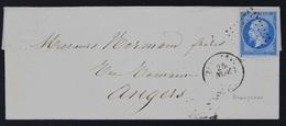 France Lettre 1853-60 Emission Empire Non Dentelé Napoleon III 20c Bleu Type II, No 14B - 1853-1860 Napoléon III