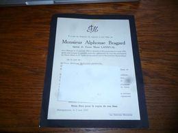 LDM4 Faire Part Alphonse Bragard Lansival Wanne 1872 Macquenoise 1952 - Obituary Notices