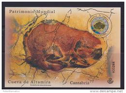 SPAIN, 2015, MNH, UNESCO WORLD  HERITAGE, ALTAMIRA CAVE, CAVES, RELIEF OF ALTAMIRA CAVE, EMOSSED S/SHEET - Geology