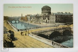 Postcard Ireland - The Liffey & Four Courts, Dublin - Valentine Series - Animated - Oxo Tram - Dublin