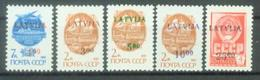 LV 1992-299-303 DEFINITIVE, LATVIA, 5v, MNH - Lettonia