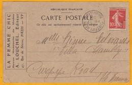 1920 - CP Commerciale La Femme Chic De Paris, France Vers Curepipe Road, île Maurice - 10 C Semeuse Camée - Francia
