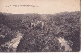 CPA - 38. Corrèze - Env D' ARGENTAT La Maronne Et Les Ruines Du Château De MERLE - Argentat