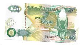 Twenty Kwacha  1992  UNCIRCULATED   Bird Of Pray - Zambie