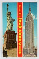Postcard USA - New York - Statue Liberty & Empire State Building - Year 1970 - Estatua De La Libertad