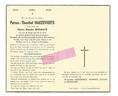 D 319. PETRUS-THEOFIEL HAEZEVOETS - Bisschoppelijk Ereteken Voor 50 J.dienst Kortenbos - °STEVOORT 1869 / KORTENBOS 1957 - Images Religieuses