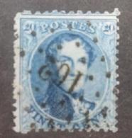 BELGIE  1863   Nr. 15 A   Tand 13 1/2  PT 162  Habay La Neuve    Coba 15 - 1863-1864 Medaillen (13/16)