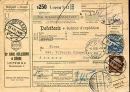 37195qui,germany Paketkarte/bulletin 1936 From Leipzig To Asmara  Erytrea Uber Lindau Romanshorn - Germania