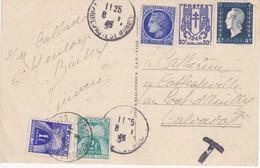 Carte Avec Taxe  Cachet  Pont D'Ouilly - 1859-1955 Lettres & Documents