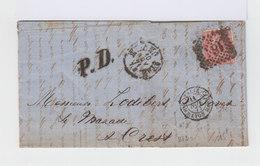 Sur Lettre Victor Emmanuel II 40 C. Rose. Oblitération PD Port Payé.Cachet Ambulant Lyon Marseille. 1871. (599) - Marcophilie - EMA (Empreintes Machines)