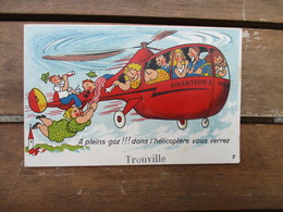 CPA 14 TROUVILLE FANTAISIE A SYSTEME HELICOPTERE - Trouville